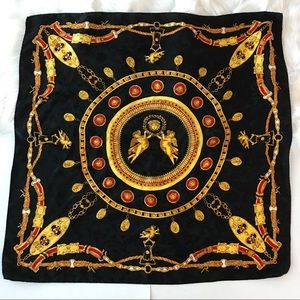 Accessories - Silk Scarf Made in Italy Red Gold Black Angels